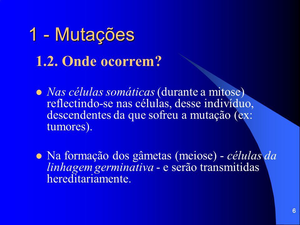 5 1 - Mutações 1.2. Quando ocorrem?  Quando da divisão celular (mitose ou meiose), por erros da replicação de DNA.  Quando da separação de cromossom
