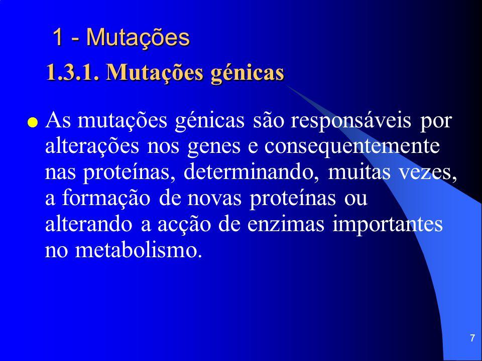 7 1 - Mutações 1.3.1.Mutações génicas 1 - Mutações 1.3.1.