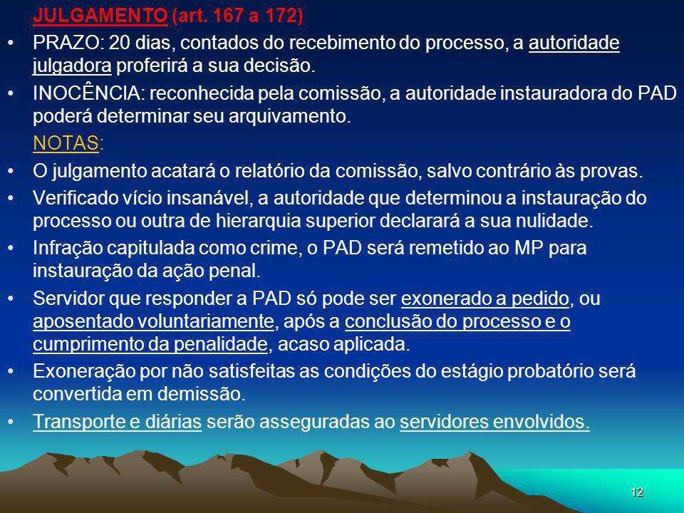 11 2 - DEFESA (art. 161 a 164) Tipificada a infração, o servidor será INDICIADO, com especificação dos fatos imputados e respectivas provas. PRAZO PAR