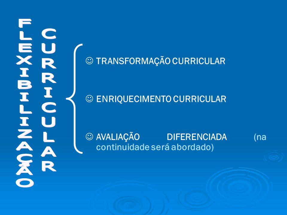 TRANSFORMAÇÃO CURRICULAR ENRIQUECIMENTO CURRICULAR AVALIAÇÃO DIFERENCIADA (na continuidade será abordado)
