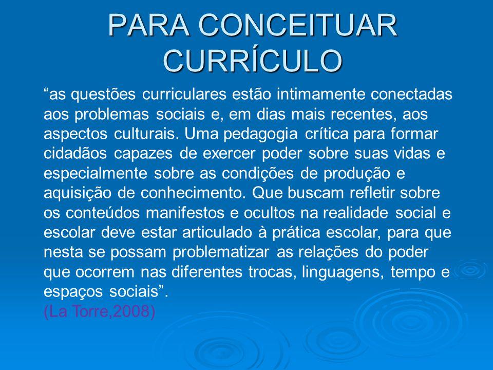 as questões curriculares estão intimamente conectadas aos problemas sociais e, em dias mais recentes, aos aspectos culturais.