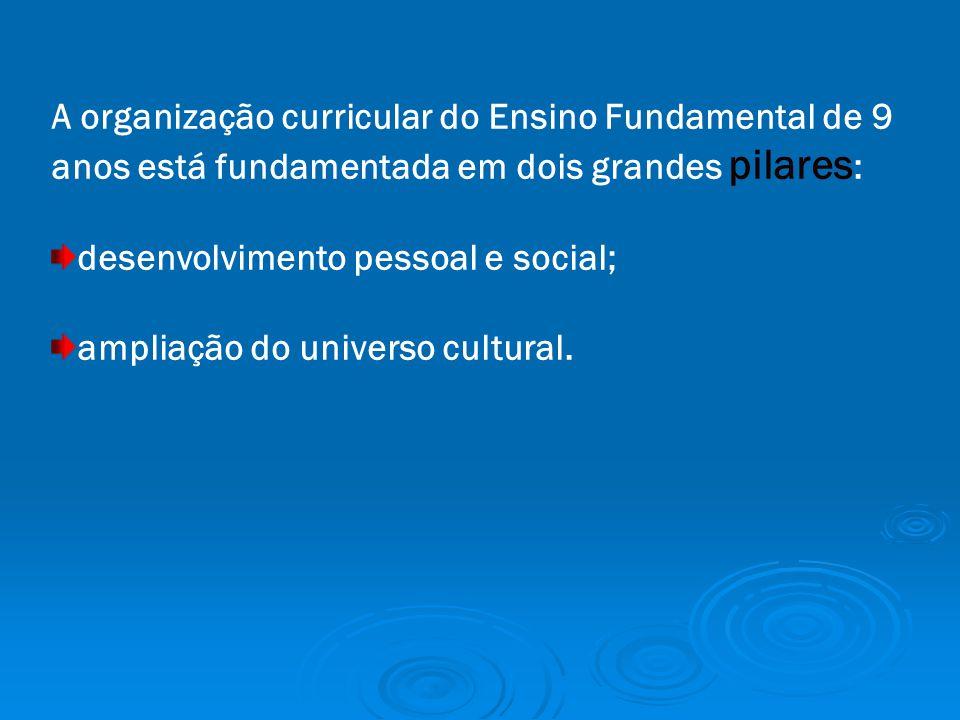 A organização curricular do Ensino Fundamental de 9 anos está fundamentada em dois grandes pilares : desenvolvimento pessoal e social; ampliação do universo cultural.