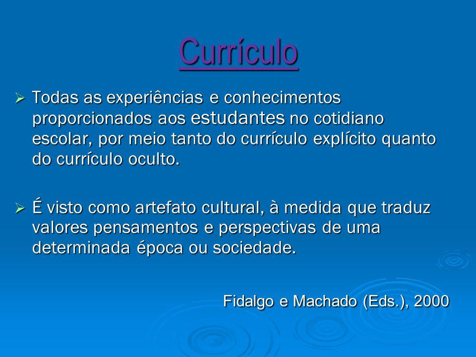 Currículo  Todas as experiências e conhecimentos proporcionados aos estudantes no cotidiano escolar, por meio tanto do currículo explícito quanto do currículo oculto.