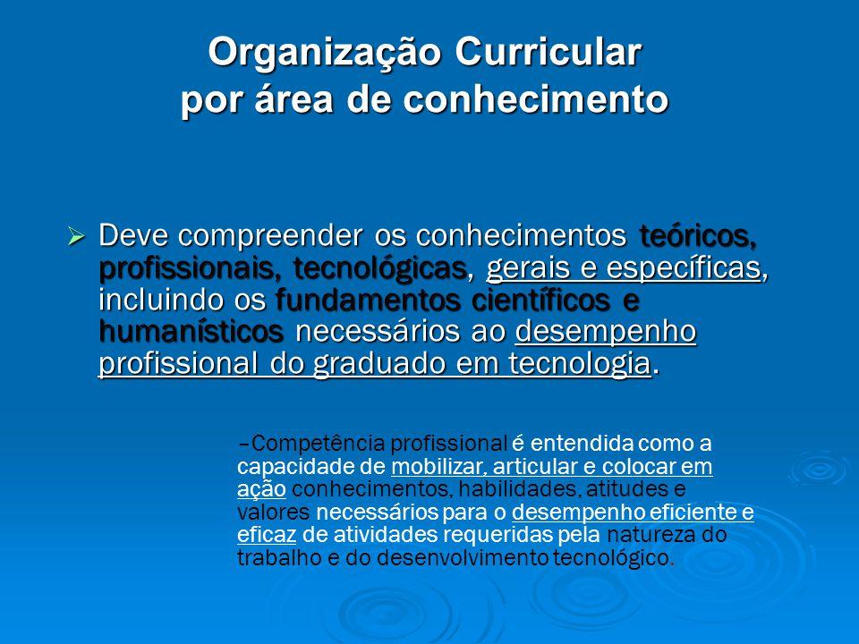 Organização Curricular por área de conhecimento  Deve compreender os conhecimentos teóricos, profissionais, tecnológicas, gerais e específicas, incluindo os fundamentos científicos e humanísticos necessários ao desempenho profissional do graduado em tecnologia.