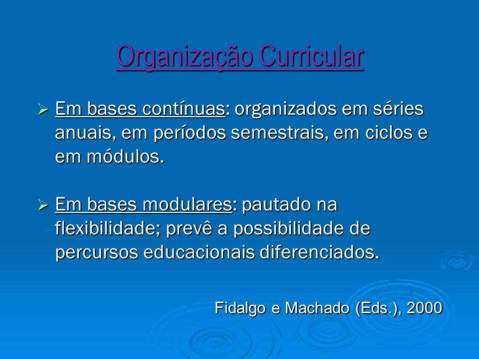 Organização Curricular  Em bases contínuas: organizados em séries anuais, em períodos semestrais, em ciclos e em módulos.