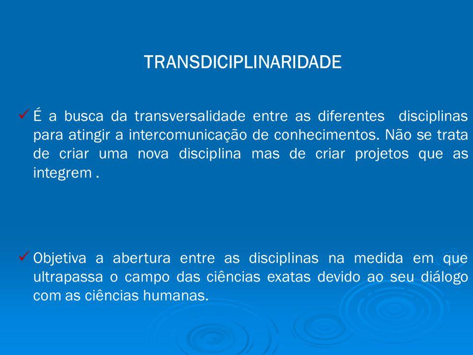 TRANSDICIPLINARIDADE É a busca da transversalidade entre as diferentes disciplinas para atingir a intercomunicação de conhecimentos.