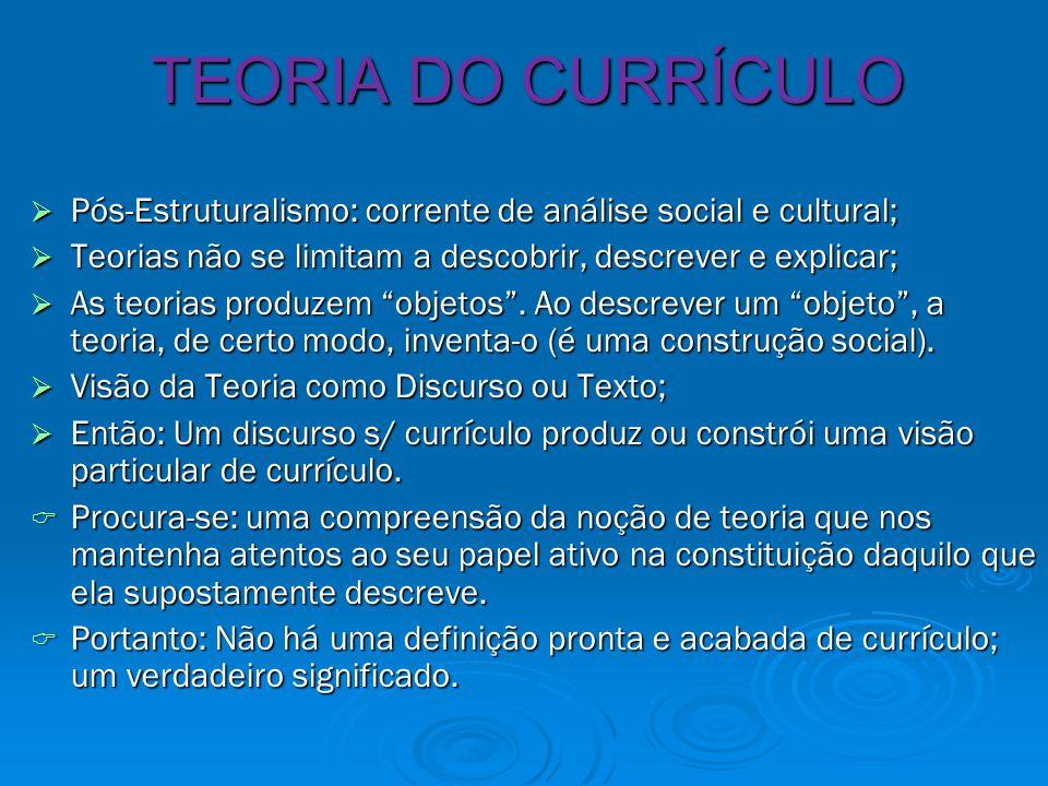 TEORIA DO CURRÍCULO  Pós-Estruturalismo: corrente de análise social e cultural;  Teorias não se limitam a descobrir, descrever e explicar;  As teorias produzem objetos .
