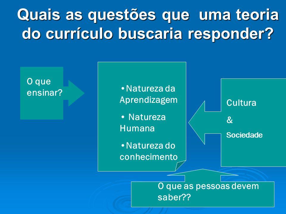 Quais as questões que uma teoria do currículo buscaria responder.