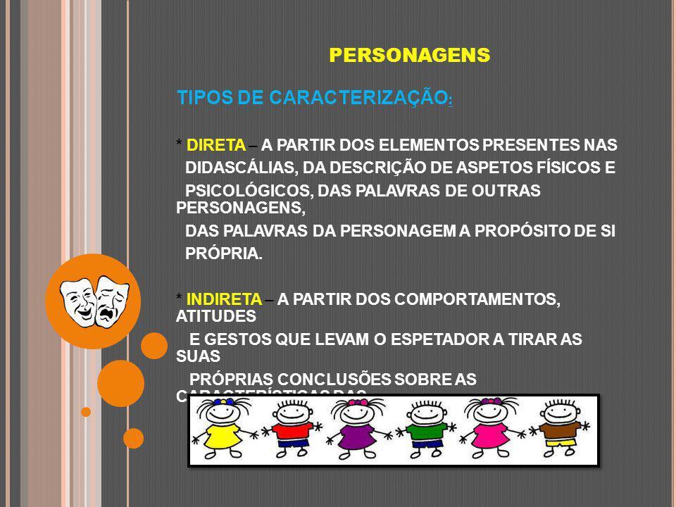 PERSONAGENS TIPOS DE CARACTERIZAÇÃO : * DIRETA – A PARTIR DOS ELEMENTOS PRESENTES NAS DIDASCÁLIAS, DA DESCRIÇÃO DE ASPETOS FÍSICOS E PSICOLÓGICOS, DAS