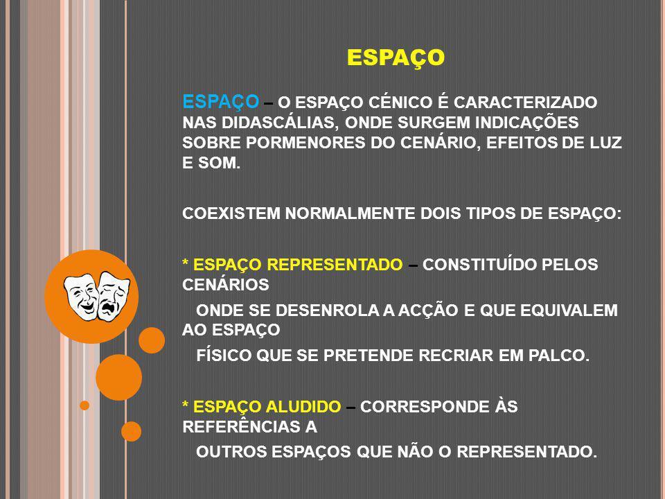 ESPAÇO ESPAÇO – O ESPAÇO CÉNICO É CARACTERIZADO NAS DIDASCÁLIAS, ONDE SURGEM INDICAÇÕES SOBRE PORMENORES DO CENÁRIO, EFEITOS DE LUZ E SOM. COEXISTEM N