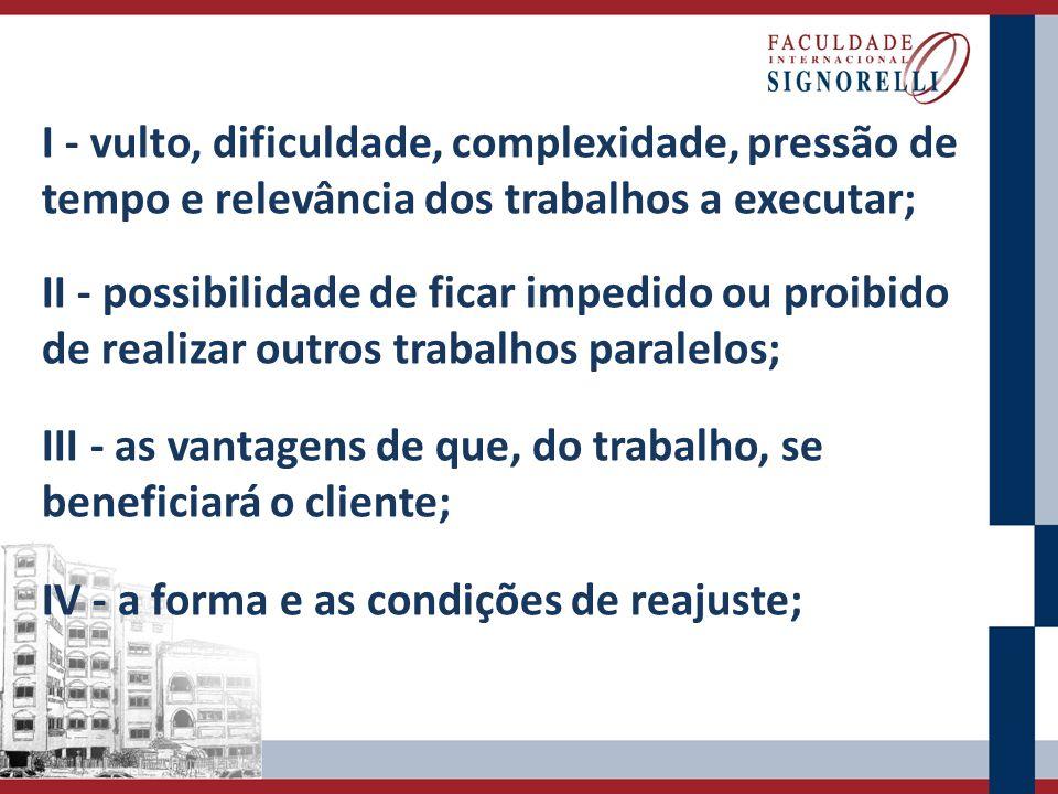I - vulto, dificuldade, complexidade, pressão de tempo e relevância dos trabalhos a executar; II - possibilidade de ficar impedido ou proibido de real