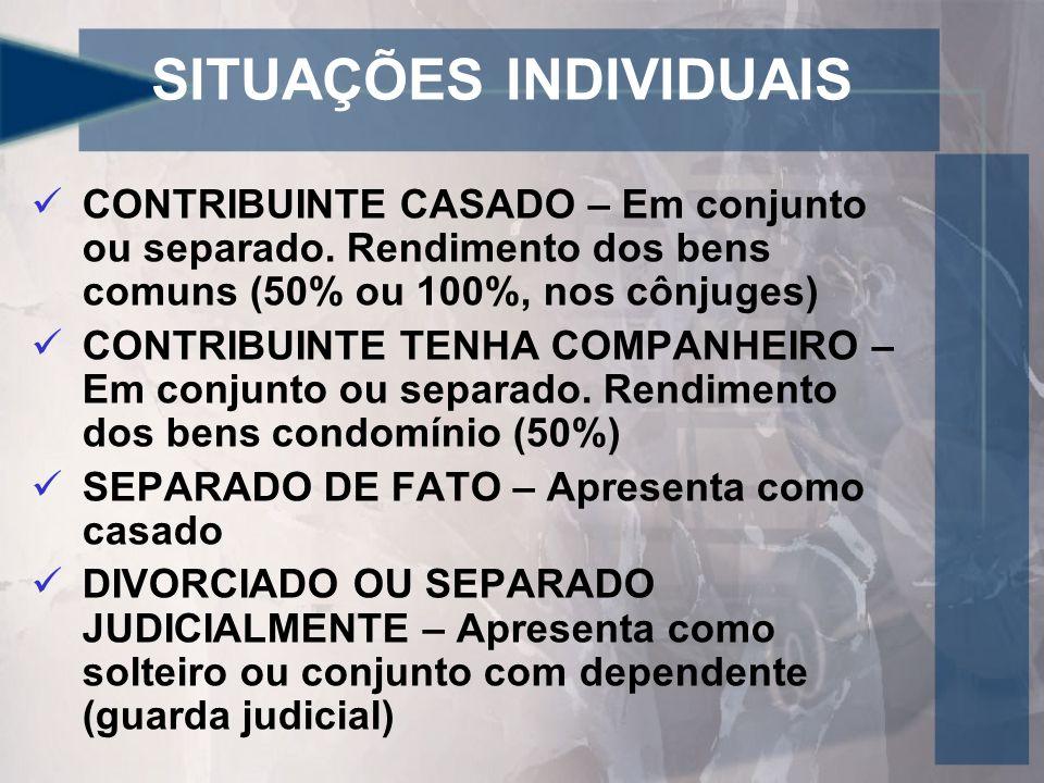 SITUAÇÕES INDIVIDUAIS CONTRIBUINTE CASADO – Em conjunto ou separado.