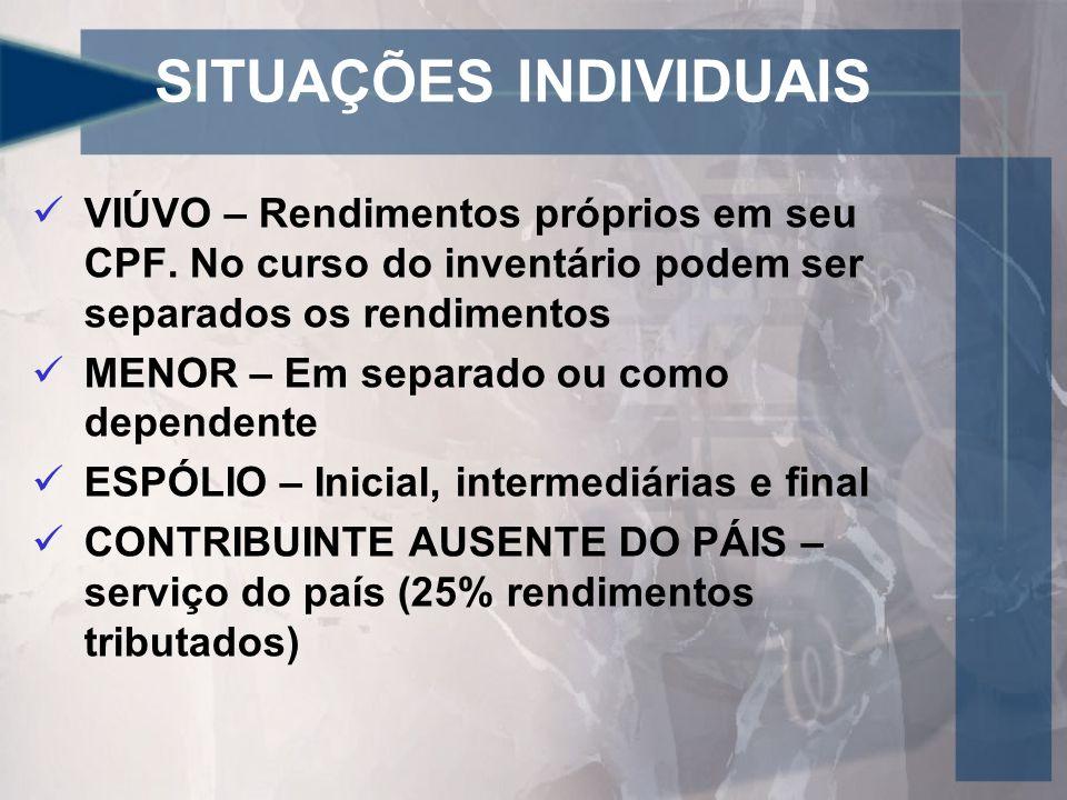 SITUAÇÕES INDIVIDUAIS VIÚVO – Rendimentos próprios em seu CPF.
