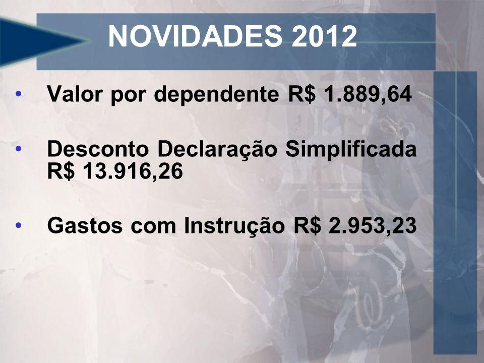 NOVIDADES 2012 Valor por dependente R$ 1.889,64 Desconto Declaração Simplificada R$ 13.916,26 Gastos com Instrução R$ 2.953,23