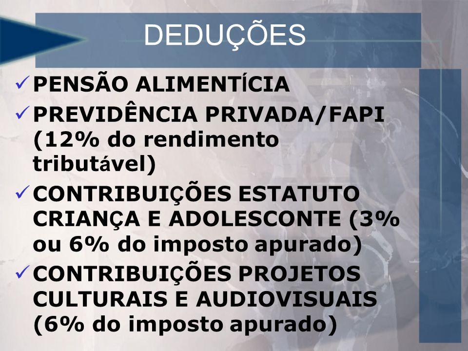DEDUÇÕES PENSÃO ALIMENT Í CIA PREVIDÊNCIA PRIVADA/FAPI (12% do rendimento tribut á vel) CONTRIBUI Ç ÕES ESTATUTO CRIAN Ç A E ADOLESCONTE (3% ou 6% do imposto apurado) CONTRIBUI Ç ÕES PROJETOS CULTURAIS E AUDIOVISUAIS (6% do imposto apurado)