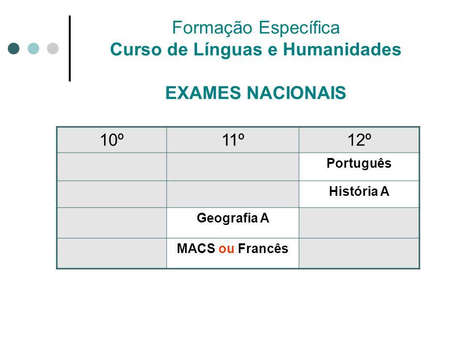 Formação Específica Curso de Línguas e Humanidades EXAMES NACIONAIS 10º11º12º Português História A Geografia A MACS ou Francês