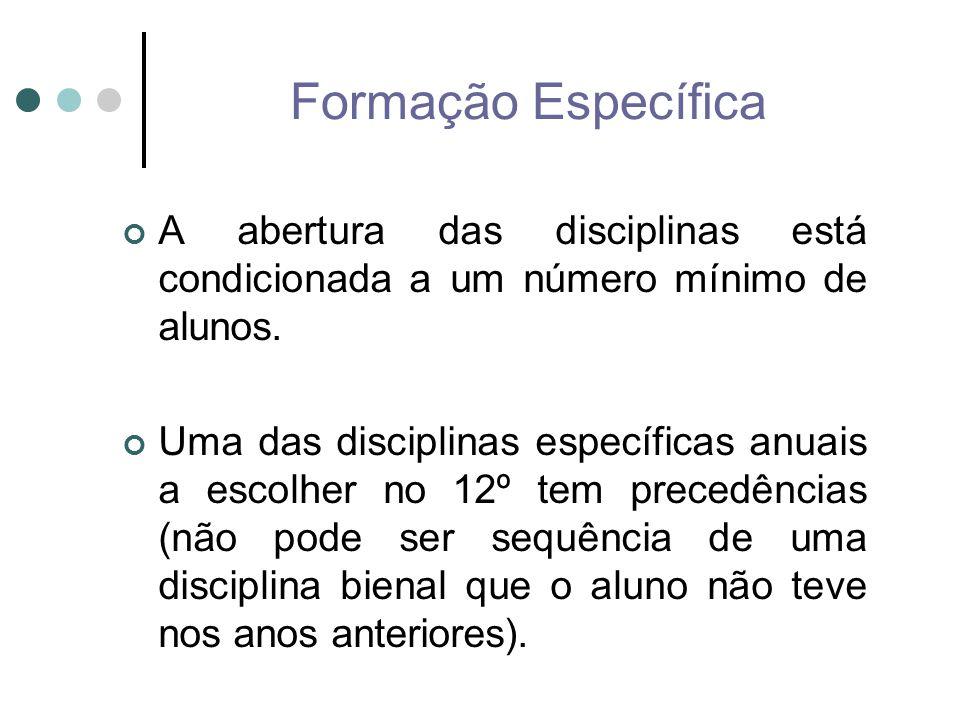 Formação Específica A abertura das disciplinas está condicionada a um número mínimo de alunos. Uma das disciplinas específicas anuais a escolher no 12