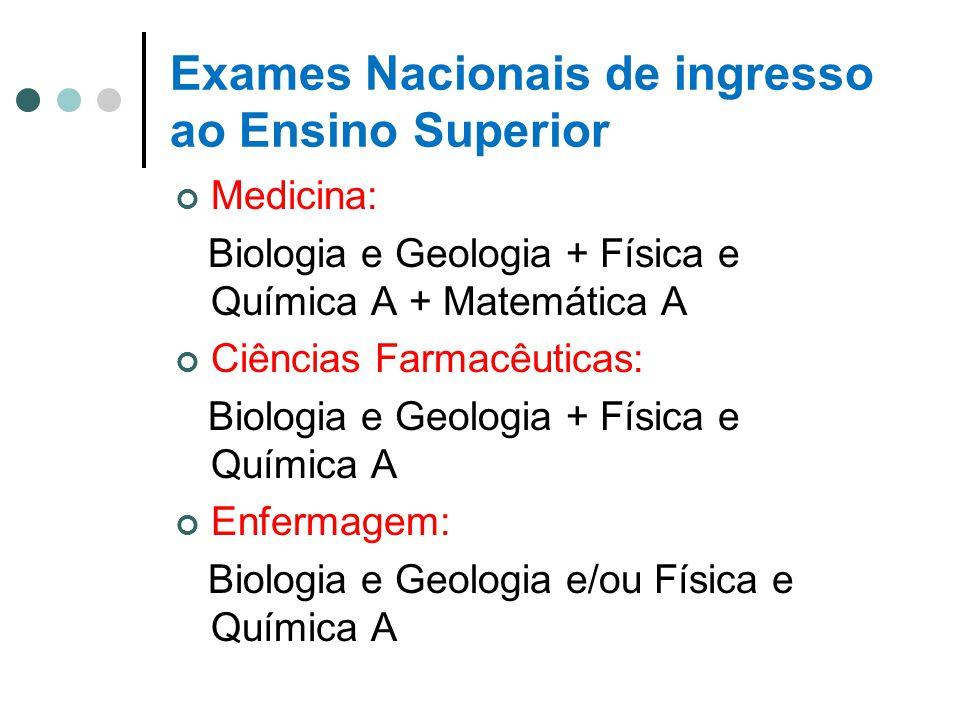 Exames Nacionais de ingresso ao Ensino Superior Medicina: Biologia e Geologia + Física e Química A + Matemática A Ciências Farmacêuticas: Biologia e G