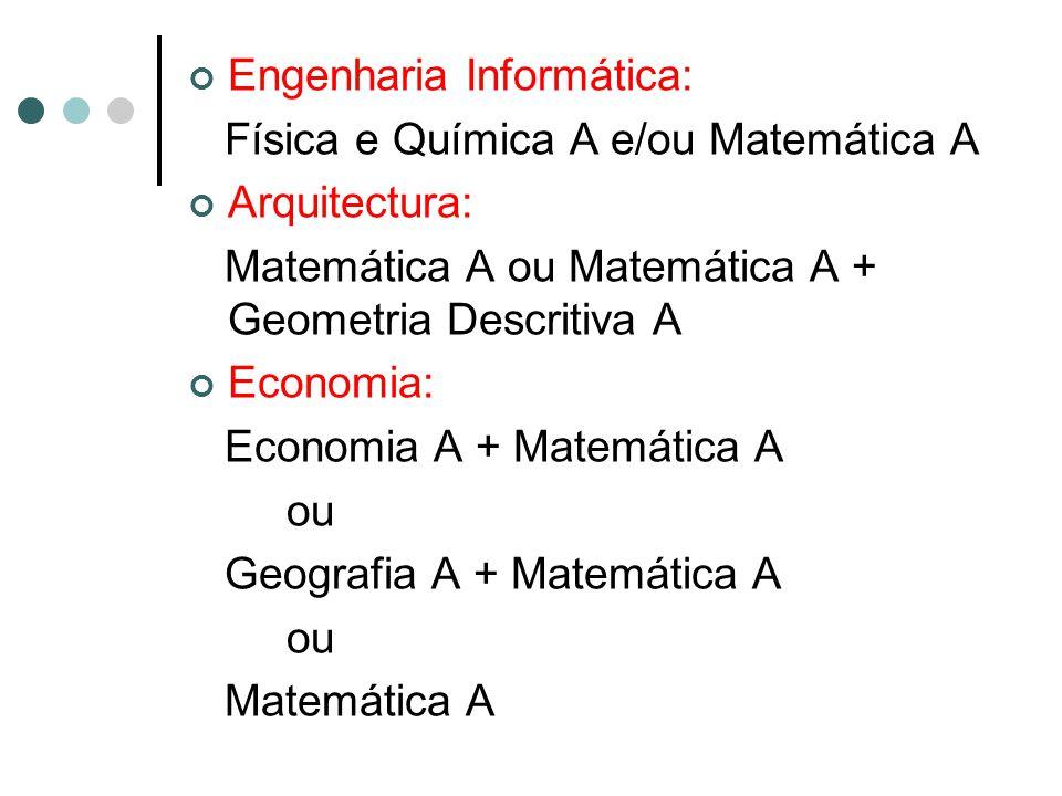 Engenharia Informática: Física e Química A e/ou Matemática A Arquitectura: Matemática A ou Matemática A + Geometria Descritiva A Economia: Economia A