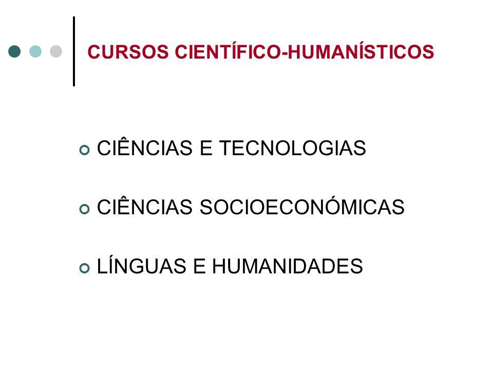 CURSOS CIENTÍFICO-HUMANÍSTICOS CIÊNCIAS E TECNOLOGIAS CIÊNCIAS SOCIOECONÓMICAS LÍNGUAS E HUMANIDADES