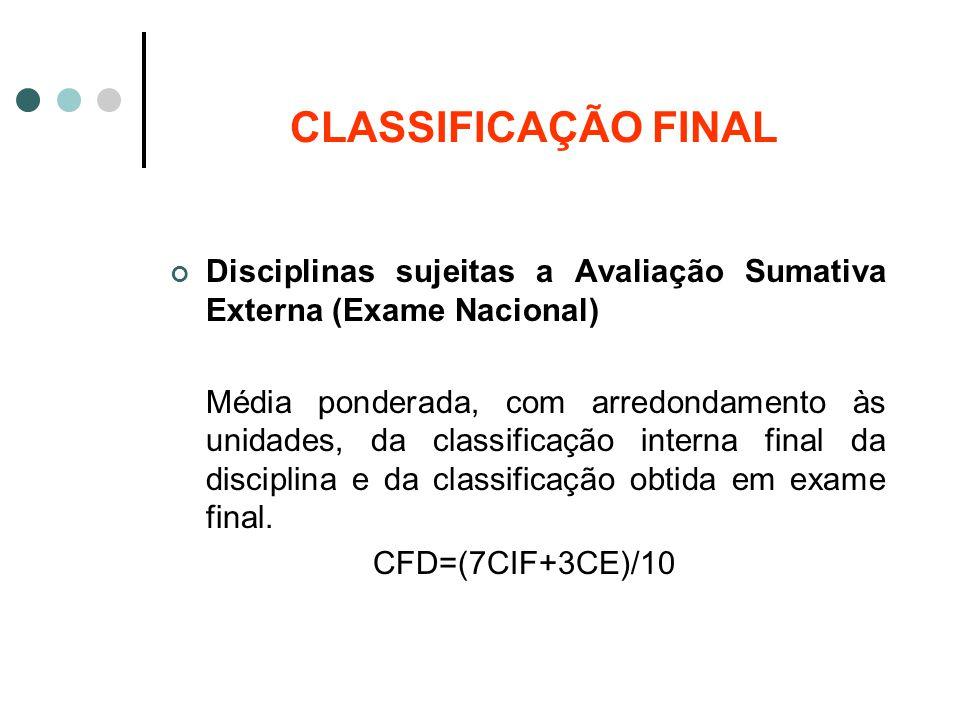 CLASSIFICAÇÃO FINAL Disciplinas sujeitas a Avaliação Sumativa Externa (Exame Nacional) Média ponderada, com arredondamento às unidades, da classificaç