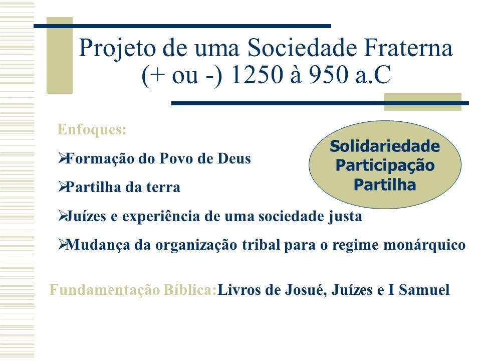 Projeto de uma Sociedade Fraterna (+ ou -) 1250 à 950 a.C Enfoques:  Formação do Povo de Deus  Partilha da terra  Juízes e experiência de uma socie
