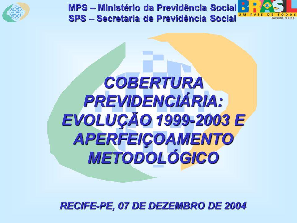 MPS – Ministério da Previdência Social SPS – Secretaria de Previdência Social COBERTURA PREVIDENCIÁRIA: EVOLUÇÃO 1999-2003 E APERFEIÇOAMENTO METODOLÓGICO RECIFE-PE, 07 DE DEZEMBRO DE 2004