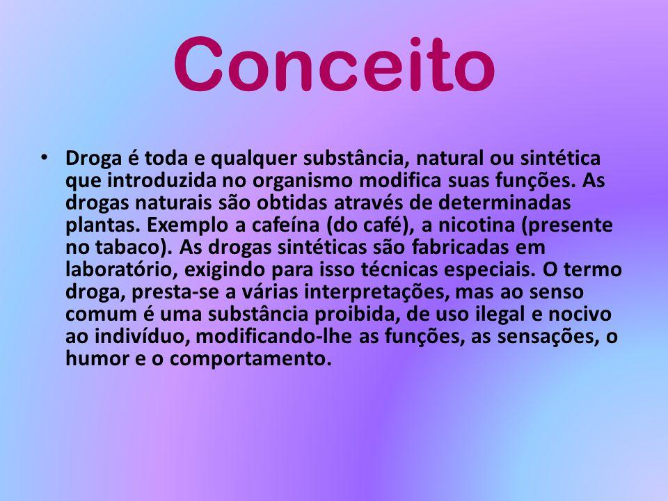 Conceito Droga é toda e qualquer substância, natural ou sintética que introduzida no organismo modifica suas funções. As drogas naturais são obtidas a