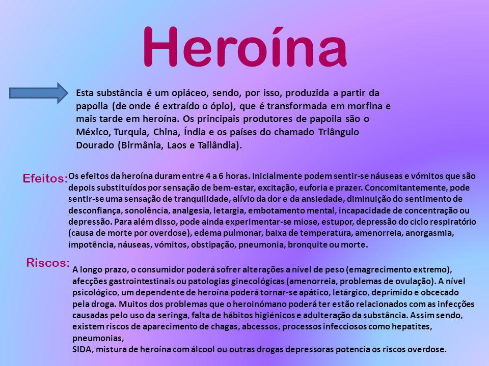 Heroína Esta substância é um opiáceo, sendo, por isso, produzida a partir da papoila (de onde é extraído o ópio), que é transformada em morfina e mais