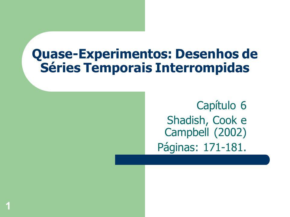 1 Quase-Experimentos: Desenhos de Séries Temporais Interrompidas Capítulo 6 Shadish, Cook e Campbell (2002) Páginas: 171-181.
