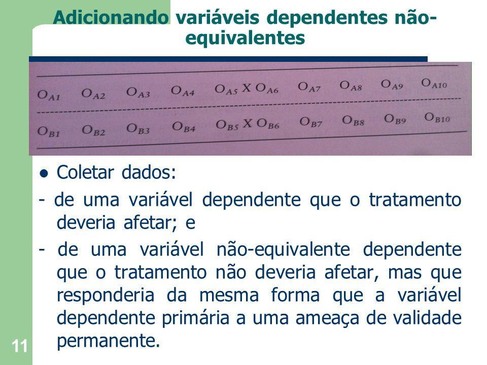 Adicionando variáveis dependentes não- equivalentes Coletar dados: - de uma variável dependente que o tratamento deveria afetar; e - de uma variável não-equivalente dependente que o tratamento não deveria afetar, mas que responderia da mesma forma que a variável dependente primária a uma ameaça de validade permanente.