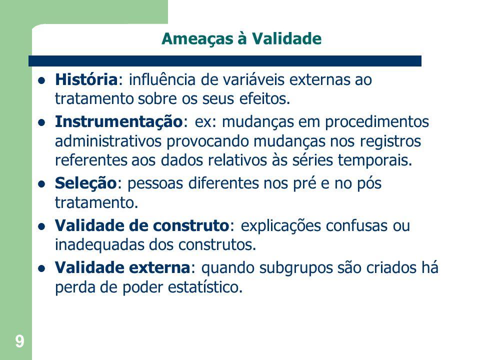 9 Ameaças à Validade História: influência de variáveis externas ao tratamento sobre os seus efeitos. Instrumentação: ex: mudanças em procedimentos adm