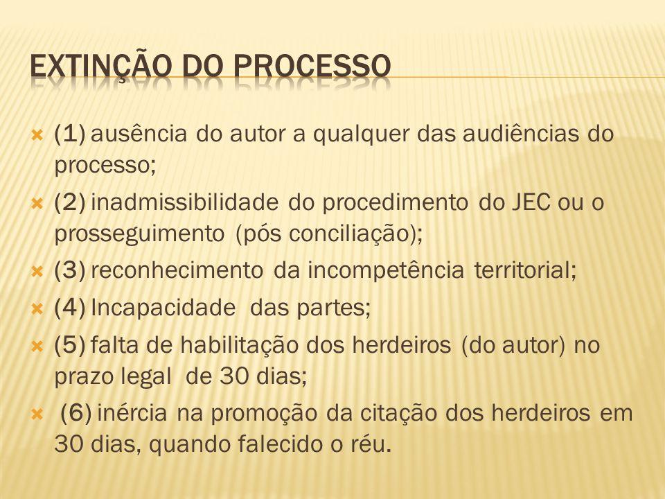  (1) ausência do autor a qualquer das audiências do processo;  (2) inadmissibilidade do procedimento do JEC ou o prosseguimento (pós conciliação);  (3) reconhecimento da incompetência territorial;  (4) Incapacidade das partes;  (5) falta de habilitação dos herdeiros (do autor) no prazo legal de 30 dias;  (6) inércia na promoção da citação dos herdeiros em 30 dias, quando falecido o réu.