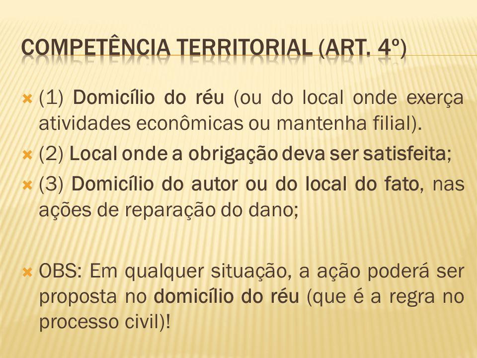  (1) Domicílio do réu (ou do local onde exerça atividades econômicas ou mantenha filial).