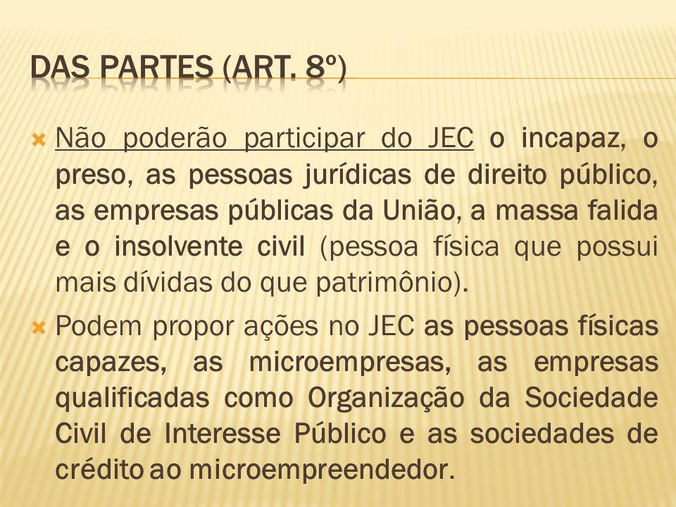  Não poderão participar do JEC o incapaz, o preso, as pessoas jurídicas de direito público, as empresas públicas da União, a massa falida e o insolvente civil (pessoa física que possui mais dívidas do que patrimônio).