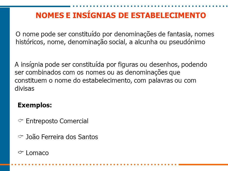 NOMES E INSÍGNIAS DE ESTABELECIMENTO Exemplos:  Entreposto Comercial  João Ferreira dos Santos  Lomaco A insígnia pode ser constituída por figuras