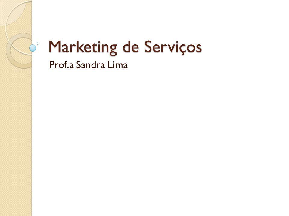 Marketing de Serviços Prof.a Sandra Lima