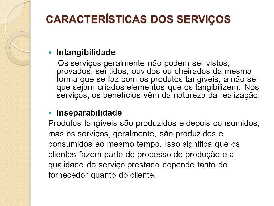 CARACTERÍSTICAS DOS SERVIÇOS Intangibilidade Os serviços geralmente não podem ser vistos, provados, sentidos, ouvidos ou cheirados da mesma forma que