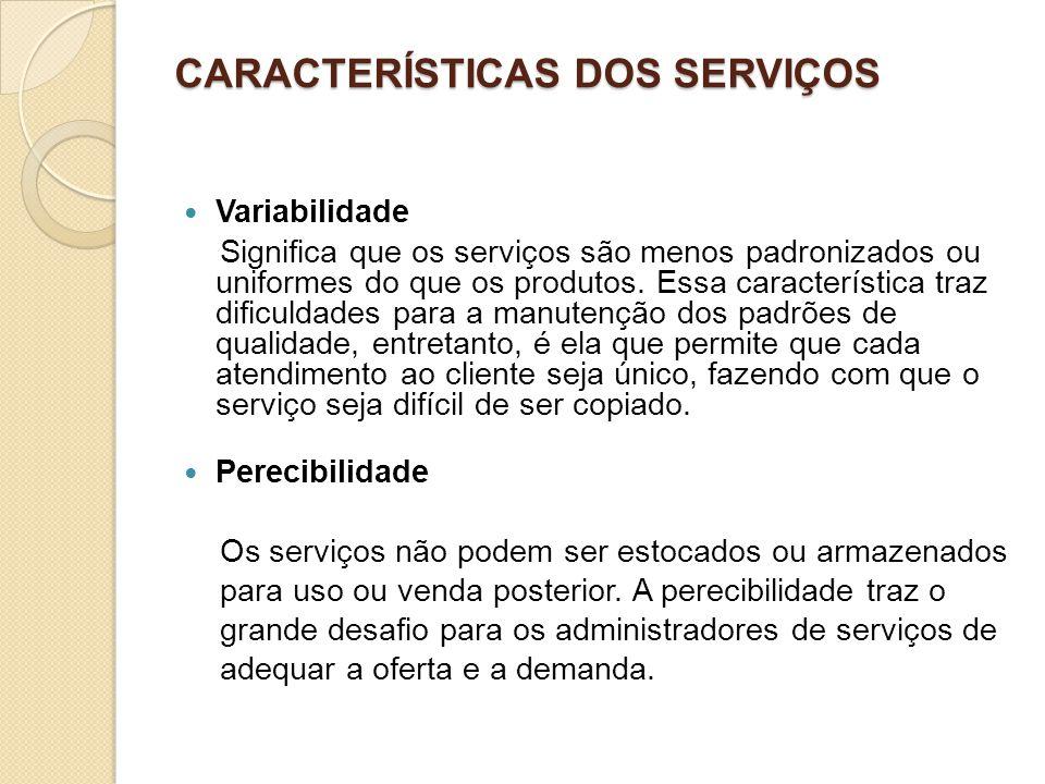 CARACTERÍSTICAS DOS SERVIÇOS Variabilidade Significa que os serviços são menos padronizados ou uniformes do que os produtos. Essa característica traz