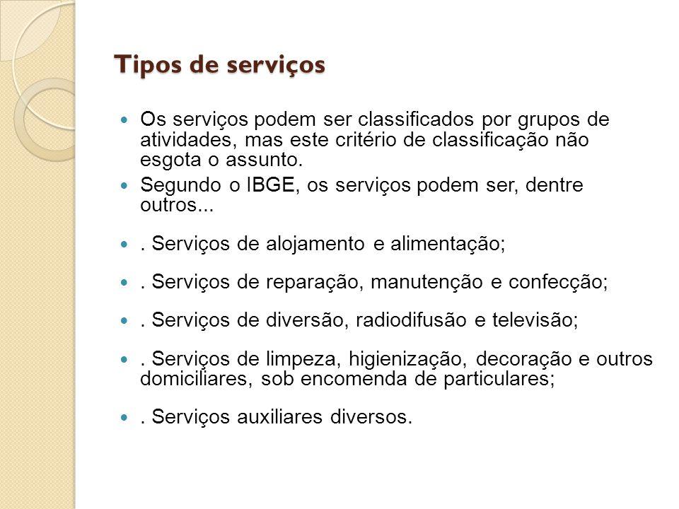 Tipos de serviços Os serviços podem ser classificados por grupos de atividades, mas este critério de classificação não esgota o assunto. Segundo o IBG