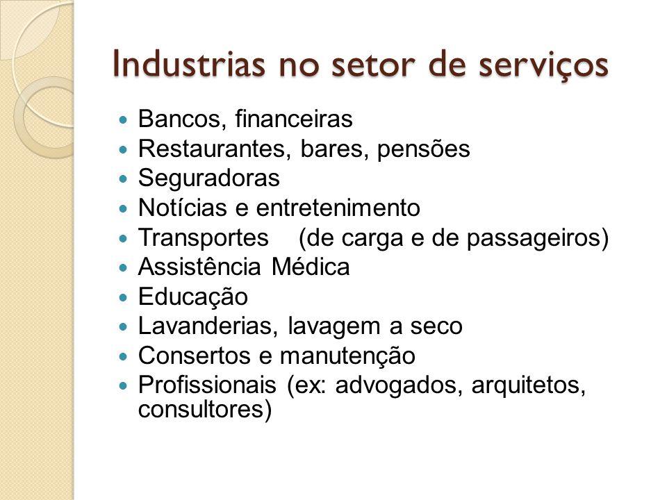 Industrias no setor de serviços Bancos, financeiras Restaurantes, bares, pensões Seguradoras Notícias e entretenimento Transportes (de carga e de pass