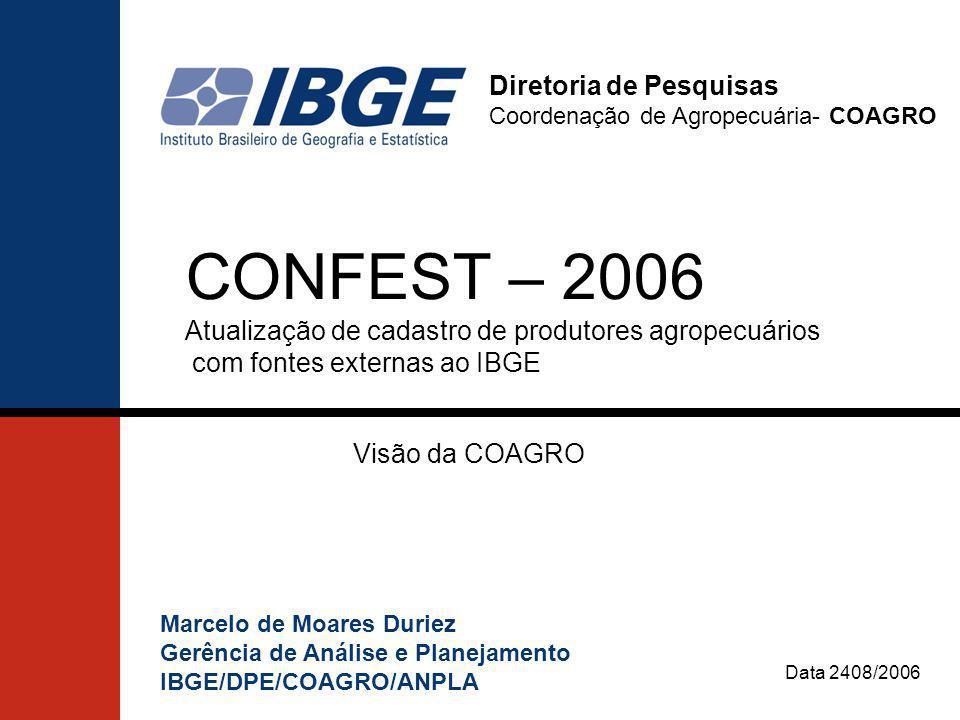 CENSO AGROPECUÁRIO 2006 Construção do Cadastro A tecnologia empregada na operação de coleta do Censo Agropecuário 2006 (PDA) irá permitir a construção do cadastro de produtores e estabelecimentos agropecuários imediatamente após o término da operação de coleta.