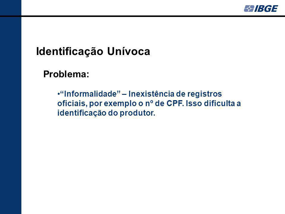 """Identificação Unívoca Problema: """"Informalidade"""" – Inexistência de registros oficiais, por exemplo o nº de CPF. Isso dificulta a identificação do produ"""