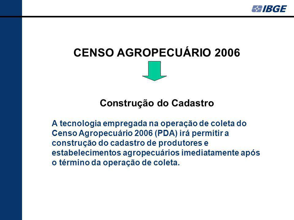 CENSO AGROPECUÁRIO 2006 Construção do Cadastro A tecnologia empregada na operação de coleta do Censo Agropecuário 2006 (PDA) irá permitir a construção