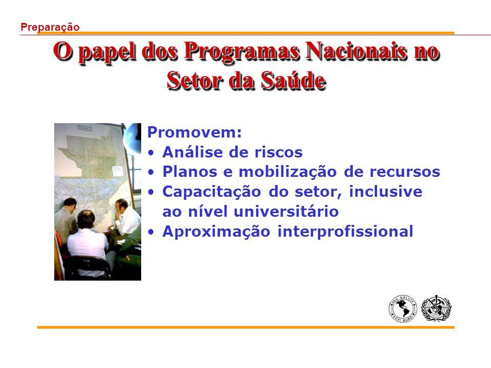 O papel dos Programas Nacionais no Setor da Saúde Promovem: Análise de riscos Planos e mobilização de recursos Capacitação do setor, inclusive ao nível universitário Aproximação interprofissional Preparação