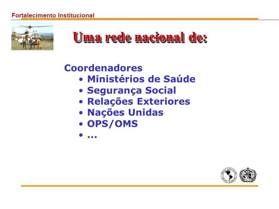 Uma rede nacional de: Coordenadores Ministérios de Saúde Segurança Social Relações Exteriores Nações Unidas OPS/OMS... Fortalecimento Institucional