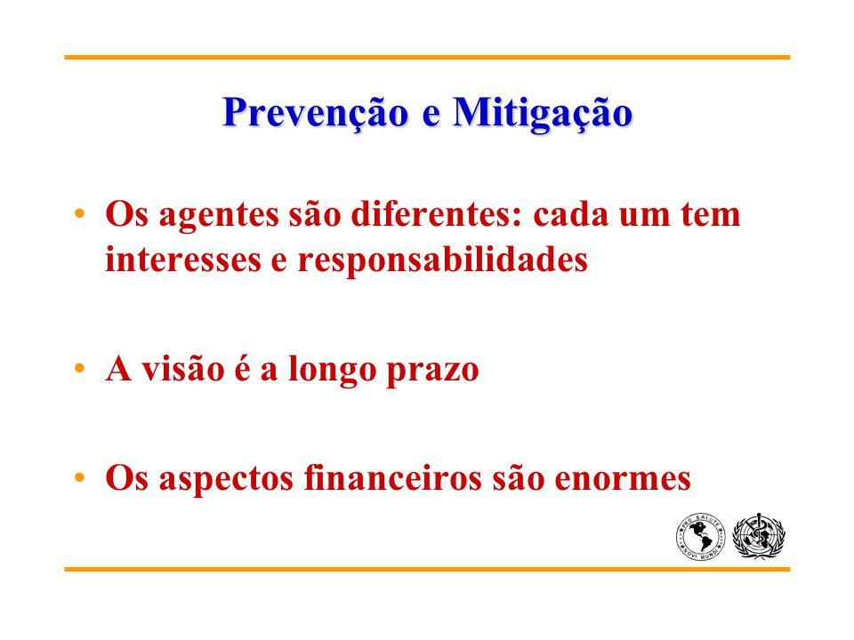 Prevenção e Mitigação Os agentes são diferentes: cada um tem interesses e responsabilidades A visão é a longo prazo Os aspectos financeiros são enorme