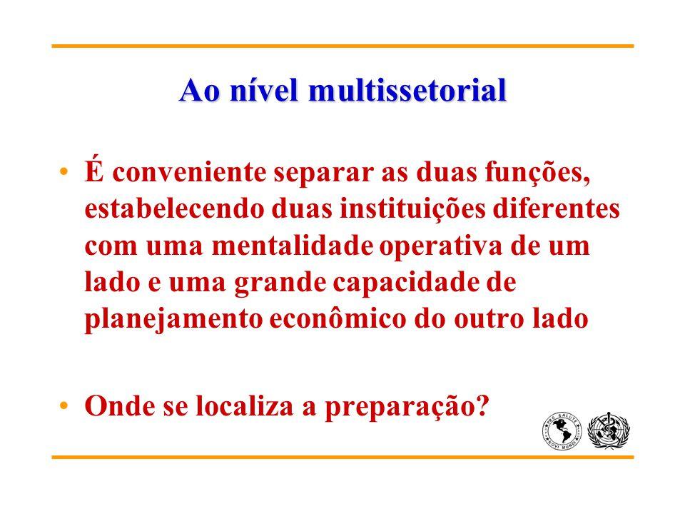 Ao nível multissetorial É conveniente separar as duas funções, estabelecendo duas instituições diferentes com uma mentalidade operativa de um lado e uma grande capacidade de planejamento econômico do outro lado Onde se localiza a preparação