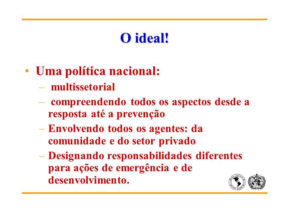O ideal! Uma política nacional: – multissetorial – compreendendo todos os aspectos desde a resposta até a prevenção –Envolvendo todos os agentes: da c
