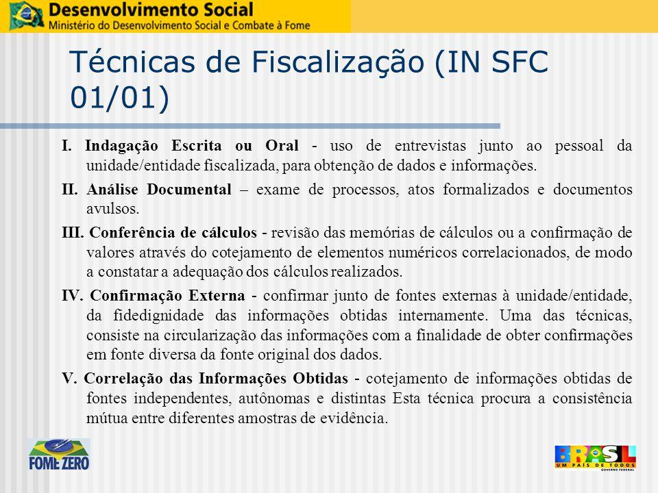 Técnicas de Fiscalização (IN SFC 01/01) I. Indagação Escrita ou Oral - uso de entrevistas junto ao pessoal da unidade/entidade fiscalizada, para obten
